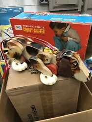 1960's Vintage Fisher Price Snoopy Sniffer Walking Dog Wood Pull Toy W/ Box 181