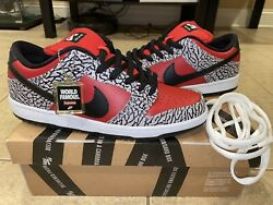 """Nike Sb Dunk Low Supreme """"red Cement"""" Sz 10 Pads, 100 Authentic"""