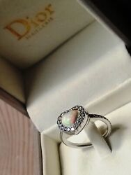 New Limited Edition Christian Dior Ring Heart Opal Diamonds White Gold Size 51