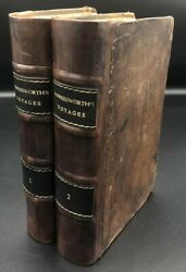 1775 2 Volume John Hawkesworth Voyages Captain Cook Leather Fine Binding