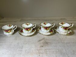 Royal Albert Old Country Roses Tea Cup And Saucer Set Of 4 Tea Cups And 3 Saucers