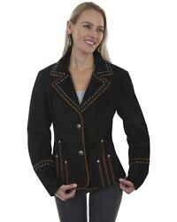 Leatherwear By Scully Women's Arrowhead Studded Piped Suede Blazer - L1015