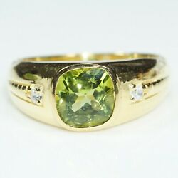 Natural Peridot Gemstone With 925 Sterling Silver Ring For Men's Bd139