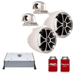 Wet Sounds Icon8w-smini 8 White Tower Speakers Stainless Mini Swivel Clamp Htx2