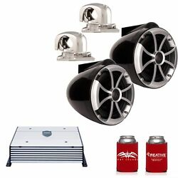 Wet Sounds Icon8b-smini 8 Black Tower Speakers Stainless Mini Swivel Clamp Htx2