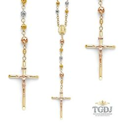 14k Tri Color Virgin Guadalupe Cross Rosary Puff Ball Necklace 5mm 26 21.4 Gr