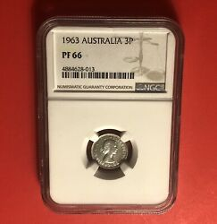 1963-australia- 3 Pence Silver Proof Coin,graded By Ngc -pf 66...low Mintage.