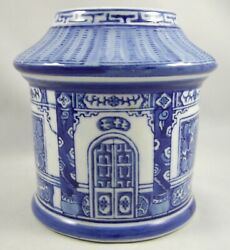 Chinese Blue White Porcelain Tea Caddy Rd Cottage Thatched Roof Motif No Lid Vtg