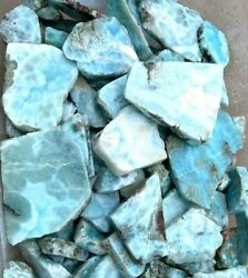 1 Pound Rough Larimar Dominican Republic Mixed Slabs Natural Mined Lapidary