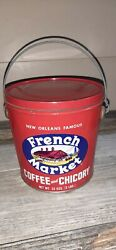 Vintage French Market Tin Bucket Coffee And Chicory 2 Lbs Empty