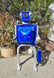 Vintage Hand Welded Blue Metal Art Futuristic Robot Prototype Toy Collectible