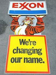 Vintage Exxon Sign Weand039re Changing Our Name 1972 Coroplast Esso Tiger Oil / Gas