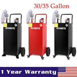 30/35 Gallon Gas Caddy Fuel Diesel Transfer Tank Container W/ Rotary Pump Wheels