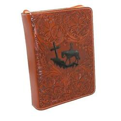 New 3 D Belt Company Tooled Leather Cowboy And Cross Bible Cover