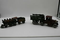 Cast Iron Train And Truck Toy Lot, 8 Lbs Total, 2 Pc Train And 2 Pc Truck Hauler