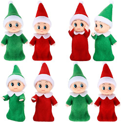 8 Pieces Baby Christmas Elf Doll Baby Twins Elves Boy And Girl Xmas Twins Dolls