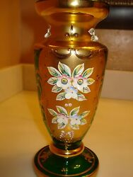 Bohemian Czech Green Vase Aloha Gorgeous Thick Gold And Applied Flowers Design