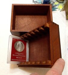 Rare Seven Coin Redfield Wooden Box With An 1880-s Red Label Morgan Dollar