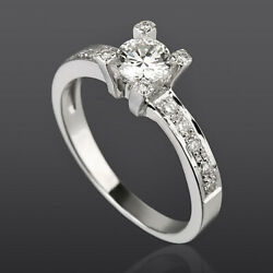 1.09 Ct Real Diamond Solitaire And Accents Ring 18k White Gold Anniversary