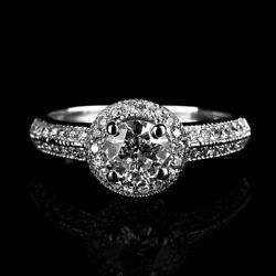 1.8 Ct Natural Solitaire W Side Stones Real Diamond 14k White Gold Promise Ring