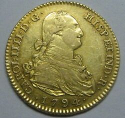1794 Madrid 2 Escudos Charles Iv Spain Gold Doubloon Spanish Colonial Era