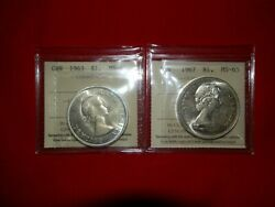 2 Beautiful Gem 65 Certified Canadian Silver Dollars 1963 And 1967
