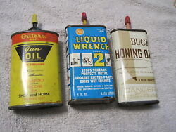 Oil Tins 3 Can Lot Outers Gun Oil, Liquid Wrench And Buck Honing Oil