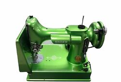 Vintage 1937 Singer Featherweight 221 Green Painted Portable Sewing Machine