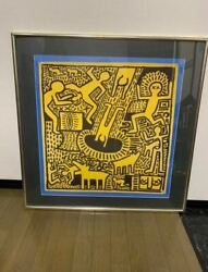 Keith Haring Poster Size 82andatilde—82cm Kh Estate Authorized Seal Color Yellow