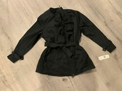 Ruffle Jacket Belted Black 2x New With Tags
