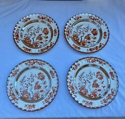 """4 Copeland Spode India Tree Dinner Plates 10 1/4"""" Excellent Condition"""