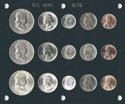 1952 P-d-s Us Mint Set-15 Coins- Brilliant Uncirculated In Black Capital Holder