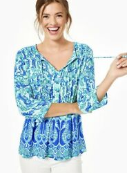 Lilly Pulitzer Marilina Tunic Sea Glass Aqua Seeing Double Engrd-rrp 158/size L