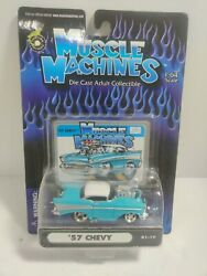 2001 Funline Muscle Machines 164 Die Cast Car Turquoise '57 Chevy Blown 01-19