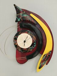 Gibson Vintage Wall Clock Black Yellow Red Signed Gibson