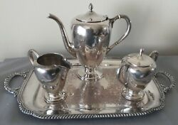 M Fred Hirsch Sterling Silver Coffee Service And Silver Plate Wmm Butlers Tray