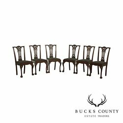 Vintage Chippendale Style Custom Mahogany Set 6 Carved Ball And Claw Dining Chairs