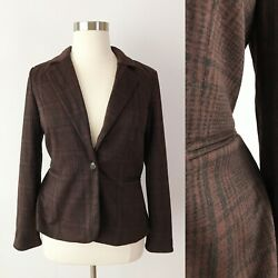 41 Hawthorn Stitch Fix Brown Plaid Knit Blazer Fully Lined Career Extra Large Xl
