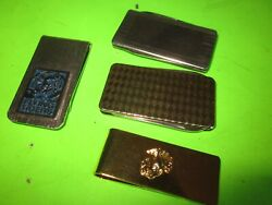 5 Vintage Accessories Of Money Clips Usmc And Flat Fashion Knives Very Good
