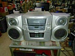 Vintage Audiovox Cd1072 Home Shelf System 5 Cd Changer Am Fm Radio With Speakers