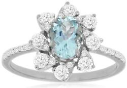 1.18ct Diamond And Aaa Aquamarine 14kt White Gold Oval And Round Multi Leaf Fun Ring