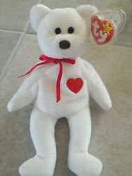 Ty Beanie Babies Valentino The Teddy Bear 1994 Mint Condition With Brown Nose.