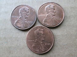 Wide Am Memorial Cents Full Set 1998 1999 2000 Au/ms Red To Rd/brn Circ.