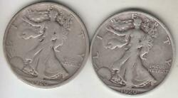 Just Reduced 2- Better Date 1920-s Walking Liberty Half Dollar F+ And Ab Vf