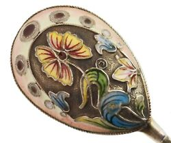 Antique Russian Silver Enameled Serving Spoon, Faberge Shop