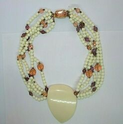 Vintage Astonishing Summer Beach Lucite Beaded Fancy Clasp Necklace Np2