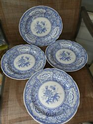 4 Spode Blue Room Collection Floral 10 1/4 Dinner Plate England Euc