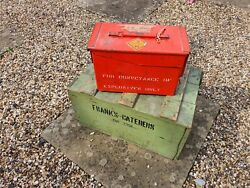 Red Vintage Ammo Box Metal Military Army Uk Explosives Weapons