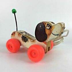 1965 Fisher Price Little Snoopy Dog Pull Toy Wood Wagging Tail Leash Vtg Gift