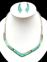 Calvin Begay Dine Sterling Inlay Sleeping Beauty Turquoise Necklace Earrings Set